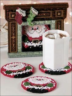 Plastic Canvas - Christmas Patterns - Coaster Patterns - Santa's Arrival