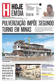 Capa do dia 25/09/2016 #HojeEmDia #Jornal #Notícias #News #Newspaper