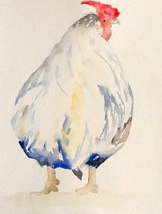Simple Chicken Watercolor - by Trees Siesma-watercolour on paper