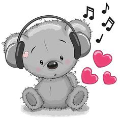 Immagine vettoriale stock 327384221 a tema Cute Cartoon Teddy Bear Headphones (royalty free) Tatty Teddy, Cute Animals Images, Cute Images, Cute Pictures, Clipart Baby, Tier Doodles, Kids Cartoon Characters, Nemo, Animal Doodles