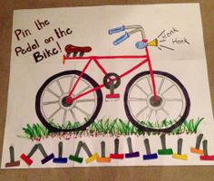 For a bicycle themed birthday party. Pin the Pedal on the Bike!