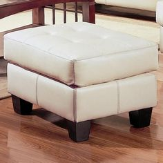 Samuel Cream Bonded Leather Ottoman by Coaster  http://www.cccstores.com/samuel-cream-leather-ottoman-coaster-501694.html #furniture #ottoman