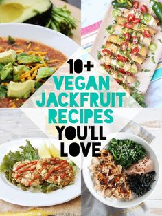 In this post you'll find Vegan Jackfruit Recipes you'll love! Ranging from jackfruit carnitas to pot pies, spring rolls, crab cakes to fried chick& Wrap Recipes, Gf Recipes, Veggie Recipes, Cooking Recipes, Recipes Using Jackfruit, Vegan Vegetarian, Vegetarian Recipes, Vegan Foods, Healthy Recipes