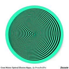New #optics #design in my Prose&Pix #Zazzle shop ~ Cone Moire: #OpticalIllusion #Hypnotic Spiral Classic #Stickers