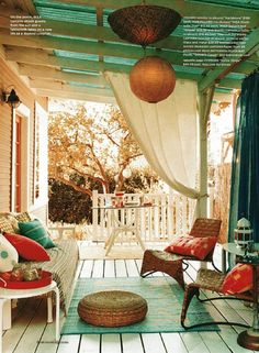 22 Porch, Gazebo and Backyard Patio Ideas Creating Beautiful Outdoor Rooms in Summer - Relaxing Summer Porches Outdoor Rooms, Outdoor Living, Outdoor Curtains, Porch Curtains, Outdoor Retreat, Outdoor Furniture, Outdoor Seating, Outdoor Patios, Sheer Curtains