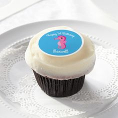 Ocean Sea Horse Birthday Cupcake Frosting Decor Edible Frosting Rounds - animal gift ideas animals and pets diy customize Tea Party Cupcakes, Baby Shower Cupcakes, Cute Cupcakes, Birthday Cupcakes, Birthday Gifts, Birthday Celebration, Birthday Ideas, Rainbow Frosting, Rainbow Cupcakes