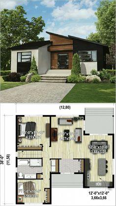 Small House Layout, House Layout Plans, Small House Design, House Layouts, Modern House Design, Sims House Plans, Small House Floor Plans, Dream House Plans, Bungalow Haus Design