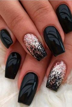 Trendy Matte Black Nails Designs Inspirations For Women - Nail Designs . - Trendy Matte Black Nails Designs Inspirations For Women – Nail Designs – Nail Ideas – - Black Nails With Glitter, Black Acrylic Nails, Black Coffin Nails, Matte Black Nails, Black Nail Art, Black Art, Acrylic Art, Red Glitter, Matte Gel Nails