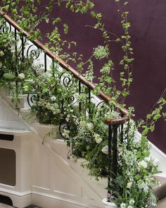 """Jen Evans on Instagram: """"Winter • Looking back over the most beautiful year. The floral staircase created by the ladies on the @tallulahroseflowerschool floral…"""" Wedding Reception Flowers, Prom Flowers, Wedding Flower Decorations, Camp Wedding, Wedding Backyard, Strawberry Hill House, Wedding Stairs, Interior Balcony, Flower Installation"""