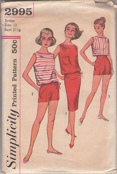 Simplicity 2995 Vintage 50's Sewing Pattern SUPER HOT PinUp Girl High Waisted Built Up Waistline Short Shorts, Sheath Skirt, Crop or Blouson Top