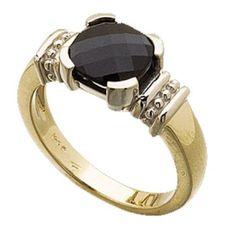 14Kt Two Tone Genuine Onyx Checker Board Ring
