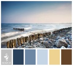 Shingle Beach: Brown, Sand, Cream, Grey, Slate, Blue, Pastel - Colour Inspiration Pallet
