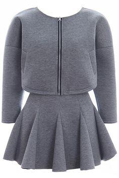 Romwe Two-piece Flouncing Hem Zipper Loose Grey Skirt
