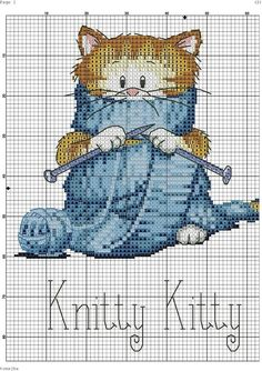 counted cross stitch patterns free (Is there a crochet cat? Cat Cross Stitches, Cross Stitch Kits, Cross Stitch Charts, Counted Cross Stitch Patterns, Cross Stitch Designs, Cross Stitching, Cross Stitch Embroidery, Embroidery Patterns, Funny Embroidery