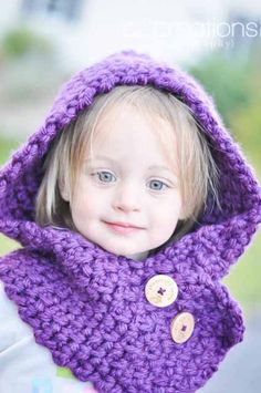 Plum Purple Hooded Cowl for Toddlers by TheSpunkyOnion on Etsy, $35.00