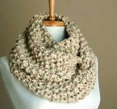 Infinity Scarf Neutral Oatmeal Hand Knit Chunky Textured Pattern