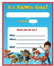 Genial tarjeta para celebración de Paw Patrol. #invitaciones #Pawpatrol