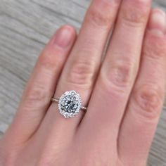 Custom Wedding Rings Grey Moissanite Engagement Ring with Diamond Halo Wedding Rings Simple, Wedding Rings Solitaire, Custom Wedding Rings, Wedding Rings Vintage, Bridal Rings, Vintage Engagement Rings, Diamond Engagement Rings, Wedding Jewelry, Diamond Rings