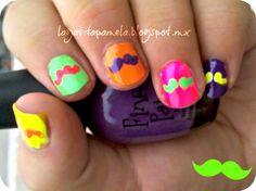 Pamela's Nails: Unias De Bigotes Neón- Mustache Neon Nails