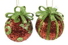 Pallina con fiocco glitterata rossa e verde - Christmas Store