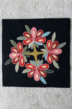Hand applique wool pillow cover by LifeSeasoning on Etsy, $75.00