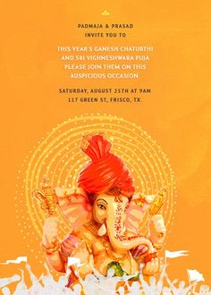 ओम गण शय न म Celebrate Ganesh Chaturthi With Inytes Com Ganeshchaturthi Vinyakachavithi Vinayaka Pooja Invitations