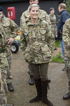 Wearing her blonde hair securely tied back, the only hint of glamour came via the Countess' chocolate knee-high suede boots Military Clothing, Military Chic, Prince Phillip, Prince Edward, British Army, British Royals, Countess Wessex, Viscount Severn, Army Girls