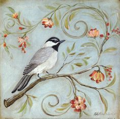 "Inspiration for a mural on hallway going up stairs...I plan on having a family ""tree"" with birdies representing our family members.  I love the simplicity of the flowers and leaves, and what a darling birdie."