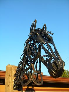 Horse Head made from recycled horseshoes