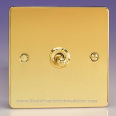 Varilight 1 Gang 10A Intermediate Toggle Light Switch Ultra Flat Polished Brass XFVT7