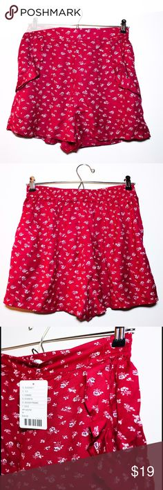 Kimchi Blue High-Rise Red Floral Shorts Adorable Urban Outfitters high-rise shorts. Poppy red with small flowers, ruffled pockets and an elastic waistband. Super cute and lightweight! Brand new with tags. Never worn. Urban Outfitters Shorts