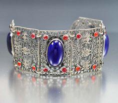 Wide Blue Glass Silver Filigree Czech Art Deco Bracelet VIntage Jewelry
