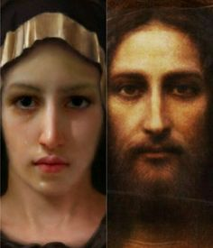 Our Blessed Mother and our Lord Jesus Christ based on the image on  Shroud Of Turin