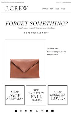 J. Crew abandoned cart email 2014