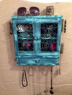 Upcycled Jewelry Organizing Display Aqua/Deep Blue by KelkoDesign, $78.00