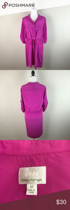 """Donna Morgan Stitch Fix Pink Silk Dress Such a pretty color and style! 100% silk. 3/4 sleeves. Adjustable & tightens around the waist to flatter your figure. Collared and buttons up at the top. Has pockets! Gently worn and in excellent condition with no flaws.   Measurements laying flat— Armpit to armpit: 20"""" Waist (without tightening): 20"""" Length, shoulder to hem: 37.5"""" Donna Morgan Dresses"""