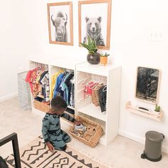 Nicole made a Montessori inspired kids wardrobe using Trofast units. This lets her child access his clothes and belongings independently. Ikea Montessori, Montessori Toddler Bedroom, Ikea Toddler Room, Ikea Kids, Lit Simple Ikea, Trofast Ikea, Diy Kids Furniture, Kids Wardrobe, Bedrooms