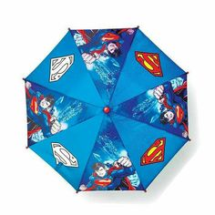 "Rain or shine they make a major splash in these cute puddle playdate pieces. Superman color changing umbrella.  Metal/plastic/polyester,  wipe clean, 27""(open), imported, ages 3 and up, $16.99 #AvonLiving # Rainyday #Superman  Visit my online store @ www.youravon.com/amartinez8866"