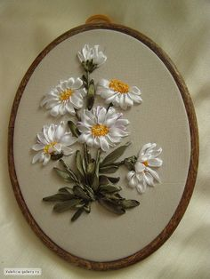 Daisies by Valentine Ilkova (Valehcia), Russia Ribbon Embroidery Tutorial, Flower Embroidery Designs, Hand Embroidery Stitches, Silk Ribbon Embroidery, Embroidery Art, Cross Stitch Embroidery, Ribbon Art, Ribbon Crafts, Diy Ribbon