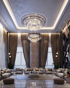 Majlis on Behance Hall Design, Loft Design, Home Room Design, Modern House Design, Interior Design Living Room, Drawing Room Interior, Modern Houses, Mansion Interior, Dream House Interior