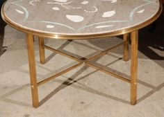 Italian Marble w/Inlaid Stone and Brass Low Table | From a unique collection of antique and modern coffee and cocktail tables at http://www.1stdibs.com/furniture/tables/coffee-tables-cocktail-tables/