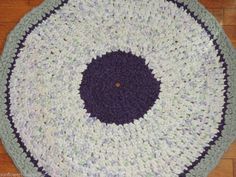"Hand Made Crochet Rag Rug ~NEW 33"" Round Sea Mist & Lilac Floral * SHABBY !  ~SALE"