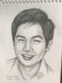 Rico Yan was a Filipino matinee idol, model, film and television actor, host, spokesperson and entrepreneur. Yan graduated from De La Salle University in 1997 with a degree in Marketing Management. Celebrity Drawings, Filipino, Pencil Drawings, Entrepreneur, Idol, University, Management, Sketches, Portraits