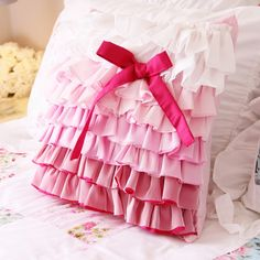 Pink Ombre Gradient Ruffle Bow Cushion Cover. Shabby Chic Bedding. Shabby Chic Pillow.