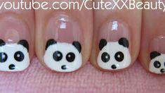 Cute! Panda Nail Art (For Short Nails) I would never polish my nails like this but it's a cute look!