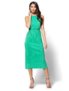 Shop Pleated Midi Halter Dress. Find your perfect size online at the best price at New York & Company.