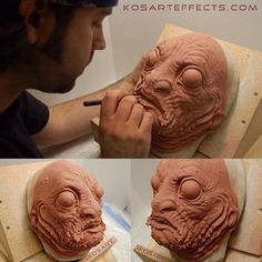 WIP shot of J. Anthony Kosar ( working on his Innsmouth prosthetic makeup sculpt, really creepy piece full of great sculptural detail! Pow Wow, Prosthetic Makeup, Sfx Makeup, Scary Mermaid, Oil Based Clay, Prop Making, Alien Art, Special Effects Makeup, Clay Design