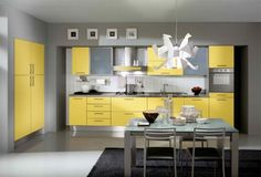 Yellow and Grey Kitchen Decor Lovely Kitchen Decorating Ideas with Red Accents Grey and Yellow Kitchen Ideas Gray Kitchen Cabinets Grey Yellow Kitchen, Yellow Kitchen Designs, Yellow Kitchen Cabinets, Yellow Kitchen Decor, Kitchen Colour Schemes, Kitchen Cabinet Colors, Kitchen Colors, Kitchen Ideas, Design Kitchen