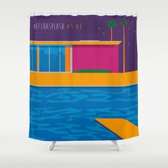 """""""After A Splash"""" SHOWER CURTAIN / 71"""" BY 74"""" $68.00 • DESCRIPTION : Customize your bathroom decor with unique shower curtains designed by artists around the world. Made from 100% polyester our designer shower curtains are printed in the USA and feature a 12 button-hole top for simple hanging. The easy care material allows for machine wash and dry maintenance. Curtain rod, shower curtain liner and hooks not included. Dimensions are 71in. by 74in."""