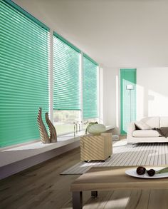 Modern living room with green Luxaflex Venetian blinds. Blinds For Sale, Blinds For Windows, Window Blinds, Blinds Curtains, Green Curtains, Modern Curtains, Modern Window Treatments, Curtain Designs, Curtain Ideas